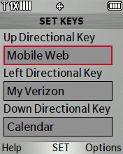 Set Keys screen