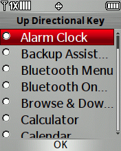 Desired Directional Key menu