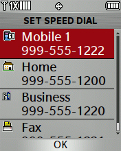 Set Speed Dial screen