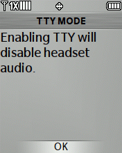 TTY Mode message screen