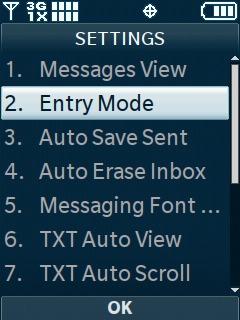 Selecciona Entry Mode
