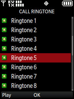Call ringtone selection