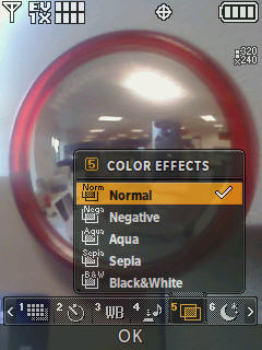 Camera screen with focus on the color effects menu options