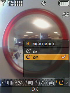 Camera screen with focus on the night mode menu options