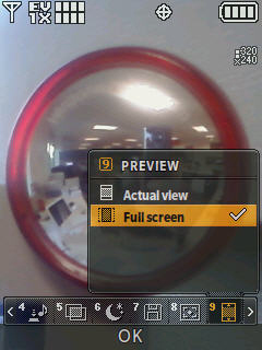 Camera screen with focus on the preview menu options