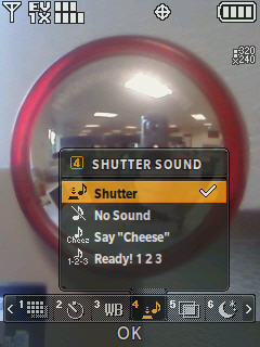 Camera screen with focus on the shutter sound menu options