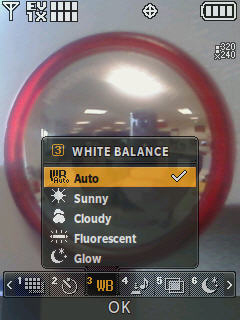 Camera screen with focus on the white balance menu options