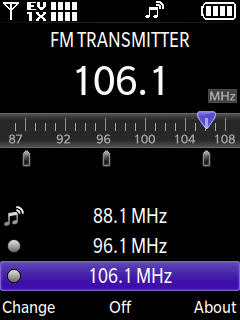 FM Transmitter with focus on cahnging a channel