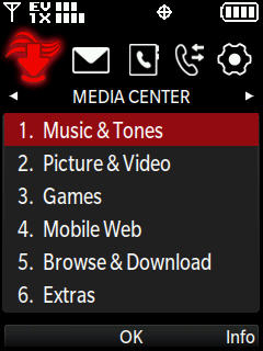 Media center menu with focus on music and tones