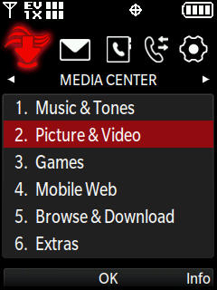 Media center menu with focus on picture and video