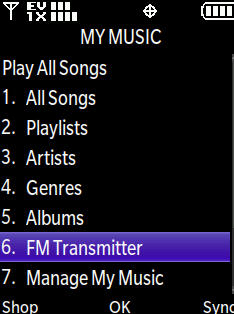 My music menu with focus on FM Transmitter
