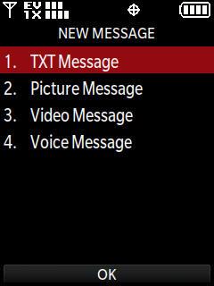 Menú New message con TXT message resaltado