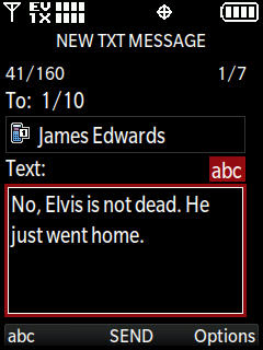 New TXT message con ingreso de mensaje de texto resaltado
