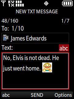 Opciones de New TXT message con Send resaltado