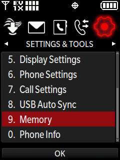 Settings and tools menu with focus on select memory