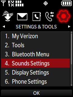 Settings and tools menu with focus on sounds settings