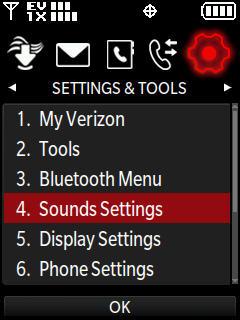 Menú Settings & tools con Sounds settings seleccionado