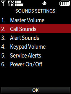 Sounds settings menu with focus on call sounds