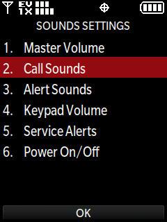 Menú Sounds settings con Call sounds seleccionado