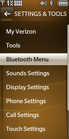 Menú Bluetooth