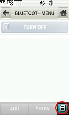 Opciones de menú de Bluetooth