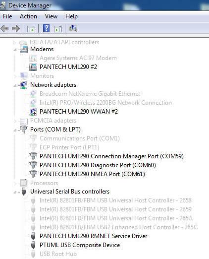 DRIVERS: PANTECH UML290 DEVICE