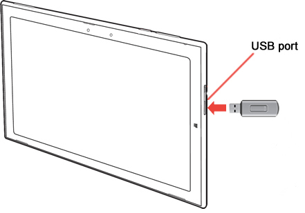 USB port with USB flash drive