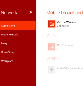 Network Connections with Mobile broadband network