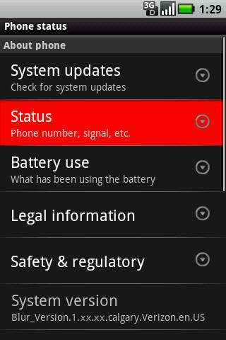 About phone con opción Status