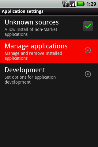 Application settings with Manage applications