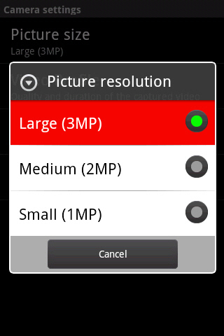 Picture size with available options