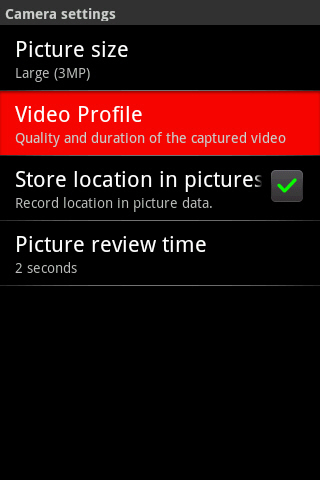 Camera settings with Video Profile