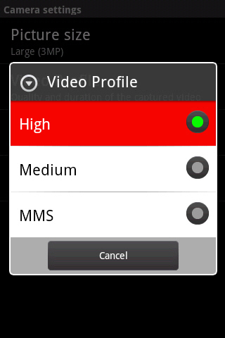 Video Profile with available options