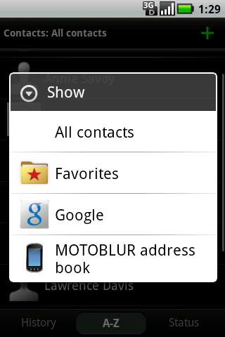 Contacts drop down menu