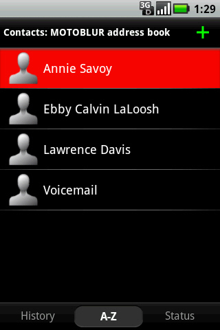 Contacts screen with preferred contact