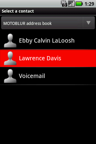 Contacts screen with contact to merge