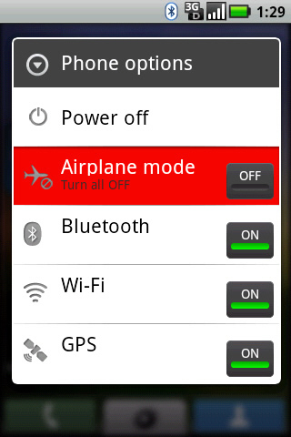 Phone options Airplane mode