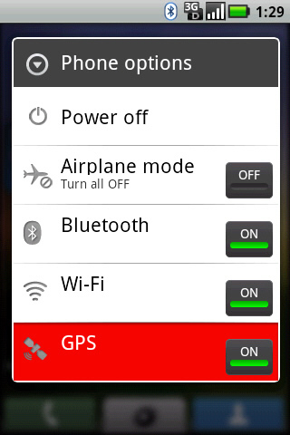 Phone options with GPS
