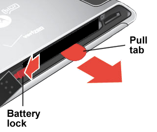 Unlock and release the battery