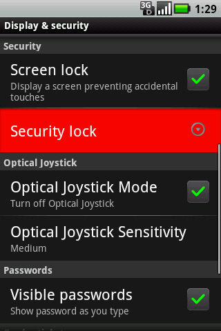 Display & Security with Security lock