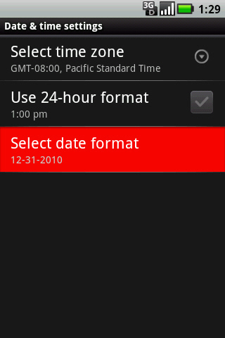Date & time settings with Select date format