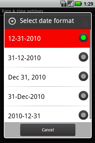 Select date format with desired option