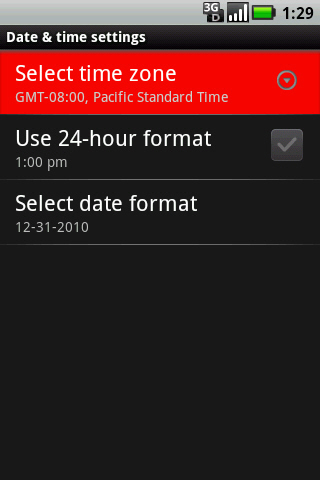 Date & time settings with Select time zone