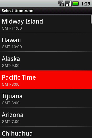 Select time zone screen with available options