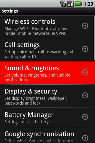 Settings with Sound & ringtones