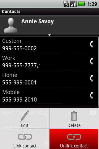 Contact menu with Unlink contact