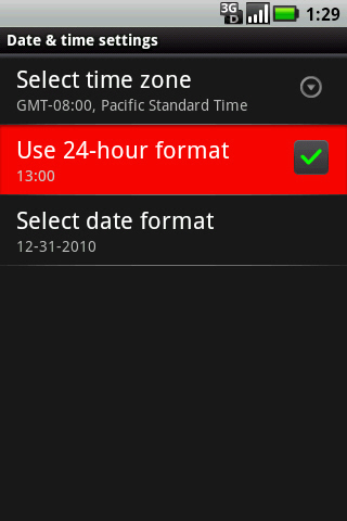 Date & time settings with Use 24-hour format