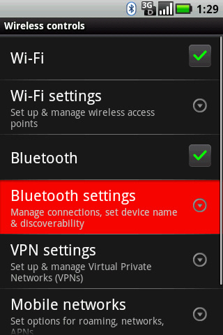 Wireless controls with Bluetooth settings