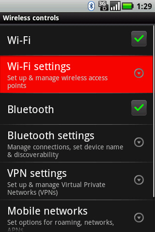 Wireless controls with Wi-Fi settings