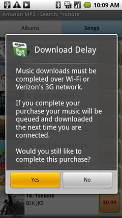 Download delay warning
